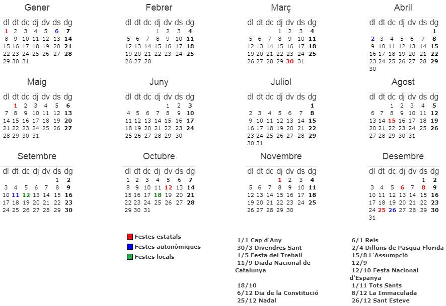 Calendari inhàbils 2018
